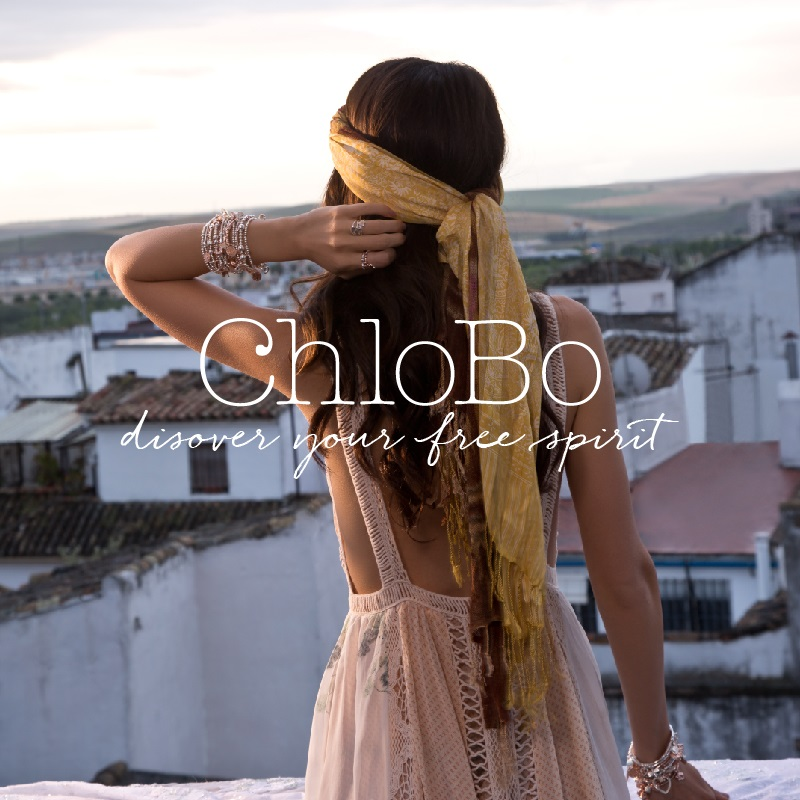 A collage of images from the Chlobo brand of jewellery