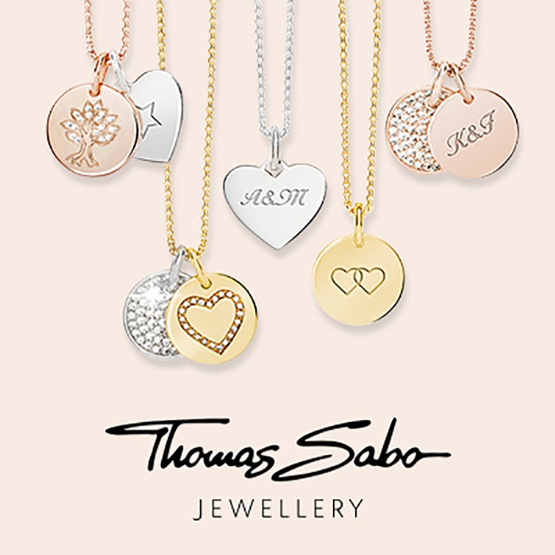 A collage of images from the Thomas Sabo brand of jewellery